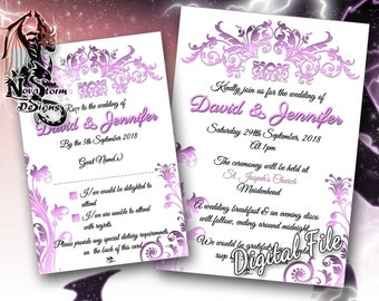 Pink Floral Wedding Invitations - RSVP Cards Available - Personalised (Digital File)