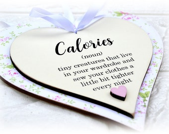 Comical Calories Definition Heart Plaque