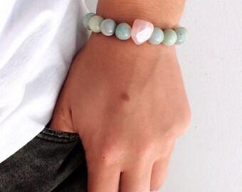 Amazonite bracelet woman, Rose Quartz bracelet. Beaded bracelet woman. Fertility bracelet, good luck stone bracelet, healing stone woman