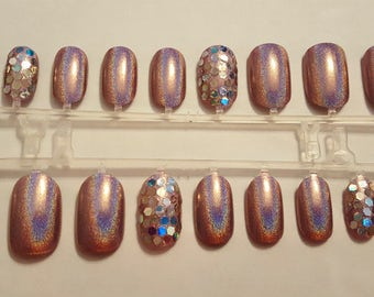 Holo Glam Fake Nails - Hand Painted Holographic Press On Nails False Nails with Holo Glitter Accents