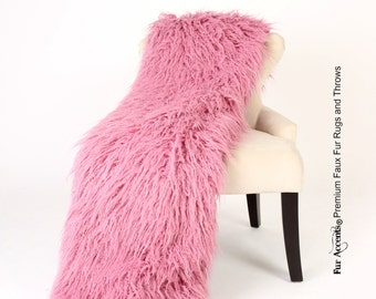 Luxurious Faux Fur Throw Blanket   Raspberry Mauve Pink Shaggy Mongolian  Shag   Silky Soft Minky