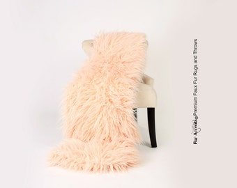Luxurious Faux Fur Throw Blanket  - Light Coral Peach Mongolian Llama Shaggy - Silky Soft Minky Cuddle Fur Back - Fur Accents Designs USA
