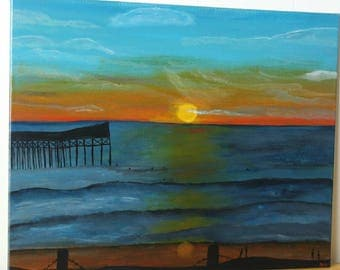 "Beach Sunset Painting - 16""x20"" signed original acrylic painting - Coastal Decor - Sunset Art - San Diego Art - Original Seascape -Beach Art"