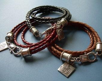 Wrap Bracelet, Om Bracelet, Leather Bracelet, Mens Bracelet, Double Wrap, Mens Jewelry, Womens Bracelet, Womens Jewelry, Leather Bracelet,