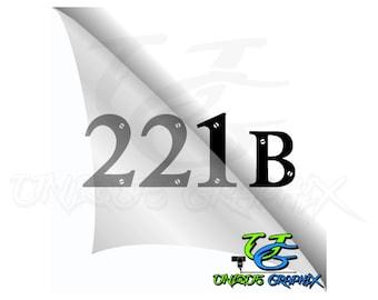 Sherlock Holmes 221B Address Decal window laptop sticker