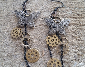 Steampunk Butterfly Earrings