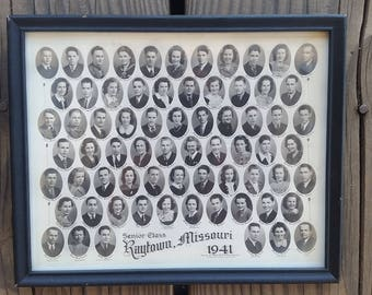 Raytown Missouri 1941 High School Senior Class Photo Black & White