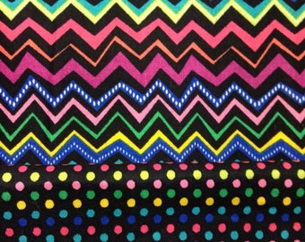 One Half Yard of EACH Fabric - Bright Dots and Bright Chevron