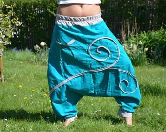 harem yoga pants turquoise batic
