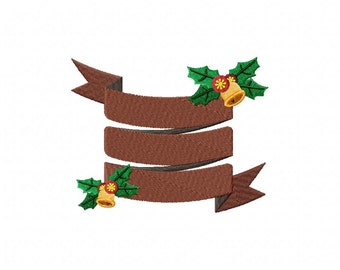 Christmas Banner Brown Machine Embroidery Design