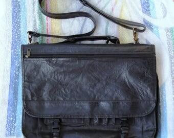 Vintage Business Shoulder/Hand Bag/ Leather Briefcase/ Leather Laptop Bag/ Mens Briefcase/ Leather Messenger Bag/1980s