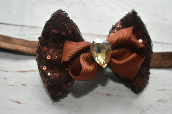 Dark brown sequins Bow with rhinestone - Baby / Toddler / Girls / Kids Elastic Hairclip / Headband / Hairband/ Hair Barrette