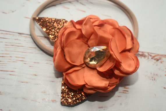 Orange single flower elastic headband - Baby / Toddler / Girls / Kids Headband / Hairband / Hair bow / crown