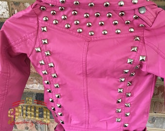 Custom Red studded kids motorcycle jacket
