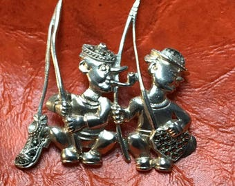 Sterling silver vintage whimsical figures fishing