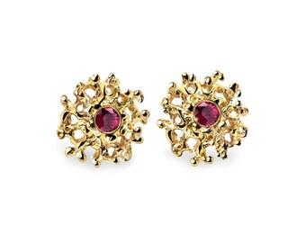 CORAL Gold Ruby Posts, Gold Earrings Posts Medium, Gold Ruby Earrings, Ruby Stud Earrings, Gold Stud Earrings, Organic Earrings
