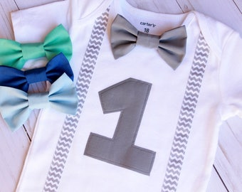 Bowtie Birthday Bodysuit, Birthday Boy Outfit, Number One with Bow Tie