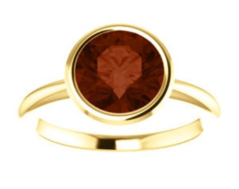 Garnet Ring 14K, 18K Gold, January Birthstone, 2.03cts Mozambique Garnet Checkerboard Gemstone,