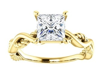 "25% OFF Moissanite ""Forever Brilliant"" Square Solitaire Engagement Ring, Infinity Inspired"