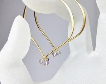 Large Gold Hoop Earrings, Pastel Amethyst Lotus Ear Wires