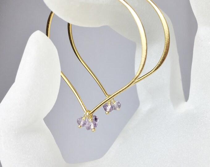 Featured listing image: 25% OFF Large Gold Hoop Earrings, Pastel Amethyst Lotus Ear Wires