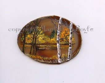 HAND PAINTED AGATE; autumn scene, lake, trees, birch, Northwestern Ontario, Canadian art, shelf art, wood easel, nature,
