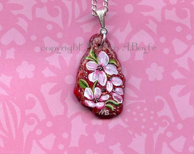 STONE- HAND PAINTED; Flowers, garden, wearable art, pendant, jewelry, pink stone, original art, apple blossoms, 24 inch chain,