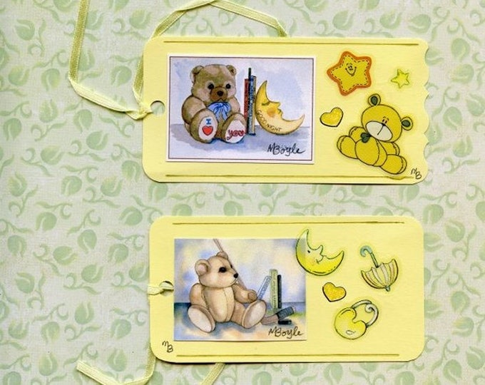 2 HAND MADE GIFT Tags; my own prints, stickers, for baby shower, narrow ribbon, yellow color, for boy