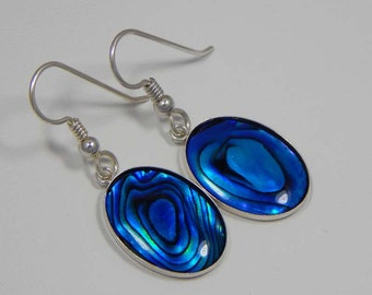 Blue Paua Shell Earrings. Paua Shell Dangle Earrings. Paua Shell Cabochons in Bezel Cups.