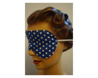 Eye Mask handmade vintage style retro audrey hepburn sleep mask sleeping bed gift ideas eye wear polka dot navy white breakfast at tiffany's