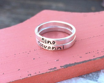 Hand stamped Sterling Silver Stackable Rings - Personalized Rings - Customized Rings - Mothers Ring - Kids Names - Cute Rings - Stackable
