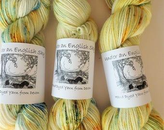 DK/Light Worsted Weight Hand Dyed Yarn, 100g. 75/25 Superwash Wool/Nylon - Sun, Sand & Sea