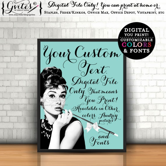 Personalized Audrey Hepburn quote signs, decor, bridal shower table signs, quotes, decorations, seating, favors, keepsakes, gifts, 8x10