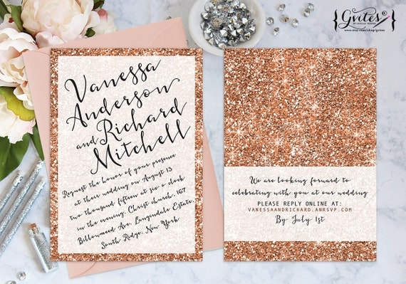 rose gold wedding invitation rose gold glitter by gvites With etsy wedding invitations rose gold