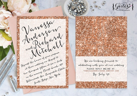rose gold wedding invitation rose gold glitter by gvites With rose gold wedding invitations etsy