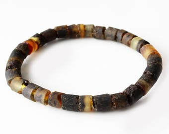 Authentic raw baltic amber stretch bracelet. Peffect for men. 20.5cm/8.07 in