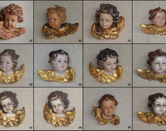 Wonderful Collection Of Old Vintage Wood Carved Angel Cherub Heads