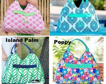 Monogram Beach Bags choose from 12 patterns Anchors / Striped / Seahorse / Paisley and more Great Gift for Mothers Day or Graduation