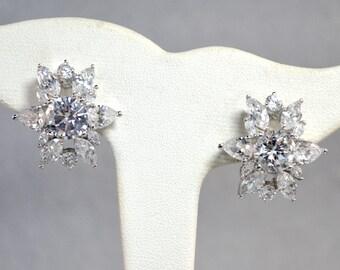 Nolan Miller C Z Glamour Collection Wedding Earrings Vintage
