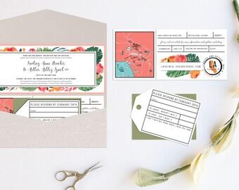Tropical Floral Pocket Wedding Invitation
