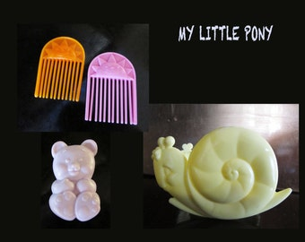 Vintage My Little Pony Yellow Snail Rocker, Bear Brush, Sun Pick
