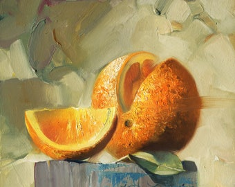 Original art Orange still life oil painting Fruit Art Painting Oranges Gifts For Her Fine Art Kitchen Decor Fruit Decor art Free shipping
