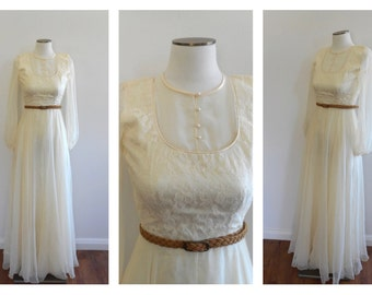 Vintage 70s BOHO Wedding Dress // Cream Lace Maxi Dress // Sheer Floaty // Hippie Hippy // Ethereal Indie // Poet Sleeve // Size: XXS