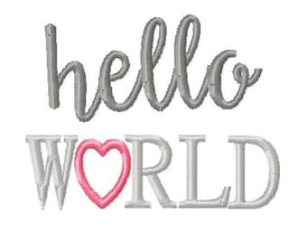 Hello world Embroidery Design 4x4 -INSTANT DOWNLOAD-