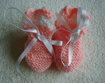 Hand Knitted Baby Booties Colour Peach