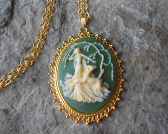 Choose Green or Black - Goddess Diana the Huntress Cameo Gold Plated Pendant Necklace - Unique - Forrest - Hunter - Deer