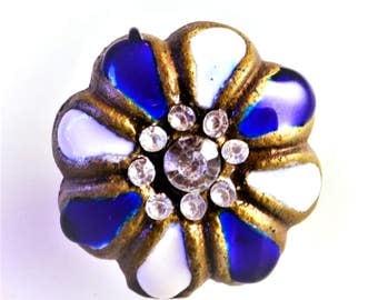 SET of 2 Antiqued Copper Blue & White Enamel Jewel Knobs