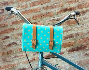 Polka dots and turquoise cotton canvas and leather bicycle bag, handlebar bag,  shoulder bag, bicycle accessories, bicycle handlebar