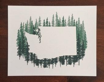 Washington State Print - Blue Pines