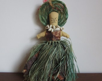Vintage Primitive Ethnic Doll, Cloth Doll,Paper, Fabric Doll,Grass,Cowrie Shell Necklace,Sewn Face,Bonnet,Folk Art,Toy,Souvenir,Island,World